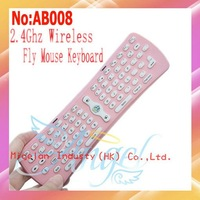 Wholesale High Quality Mini 2.4G Wireless Keyboard with Mouse+Free Shipping Pink #AB008