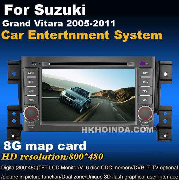 HD Car DVD Player For 2005 - 2011 Suzuki Grand Vitara DVD Navi Radio RDS 6V-CDC 3G ,free map + free shipping(China (Mainland))