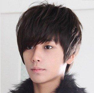 Fashion Korea style Men Handsome Short wig Hair/kanekalon boy wig 3 colors(black,dark brown,light brown)-Free Shipping