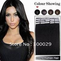 "20pcs Remy Tape Human Hair Extensions 16"" - 24""  #01 _ jet black"