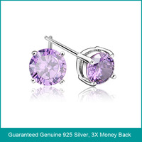 Wholesale & Retail for Plain 925 Sterling Silver 6MM Round Amethyst Stud Earrings with White Gold, Top Quality!! (O0128)