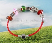 FREE SHIPPING 3PCS European Style Happy Bead Charm Leather Bracelet #20052