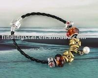 FREE SHIPPING 3PCS European Style Golden Cross Charm Bracelet #20060