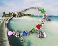 FREE SHIPPING 3PCS European Style Bead Charm Heart Bracelet #20067