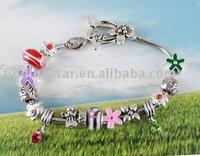 FREE SHIPPING Mixed 4pcs European style bead charm toggle bracelet #20057,#20061,#20067,#20071