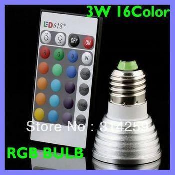 16 Color Changing E27 3W RGB LED Light Bulb Lamp AC85V~265V + IR Remote Control
