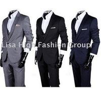 Hot Sale Men's Suit/ Men's Casual Slim fit Skinny business suits three-piece(coat+vest+pant),Men Suits,Men clothes