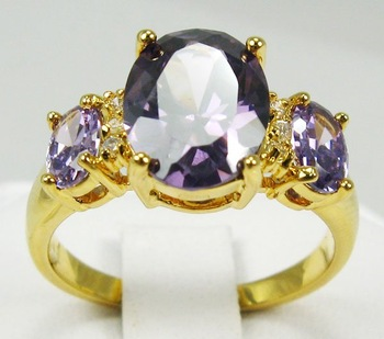 Free Shipping New Wholesale and retail Exquisite alexandrite rings in 14KT yellow Gilding #8