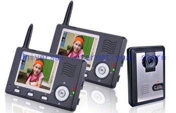 The newest wireless color video door phone/ video intercom systems/video door bell ( 1outdoor camera with 2  indoor monitors )