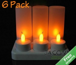 Rechargeable LED Candle Light+6Yellow Candles+ used for home decoration+Free shipping(China (Mainland))