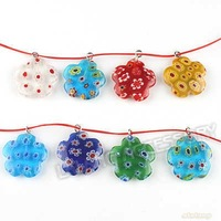 45x New Assorted Millefiori lampwork Flower Pendant Bead Jewelry Wholesale Pendant Fit Charms Bracelet & Necklace 140189