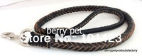 Free shipping rolled real leather dog leash for big dogs