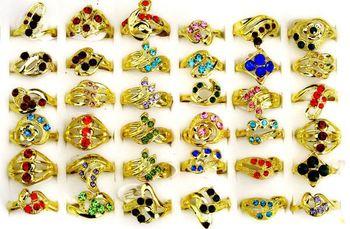 Free shipping Wholesale mix lots 30pcs Colored Australia Rhinestone women's rings charming rings jewellery
