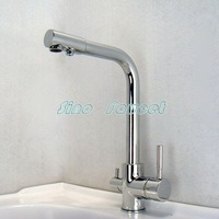 Free Shipping Brand New 3 Way Dual Faucet Water Filter Tri Flow Kitchen Faucet Mixer Tap 0509 Wholesale and Retail