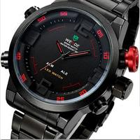 WEIDE 30M Waterproof Analog & Digital Display Wristwatch Full Stainless Steel Brand Military Watch Men Sports Watches Hot sales