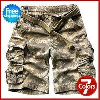 TOP Quality New Summer fashion style Cotton washed men's cargo combat short cotton shorts with belt 11 Colors S M L XL XXL XXXL