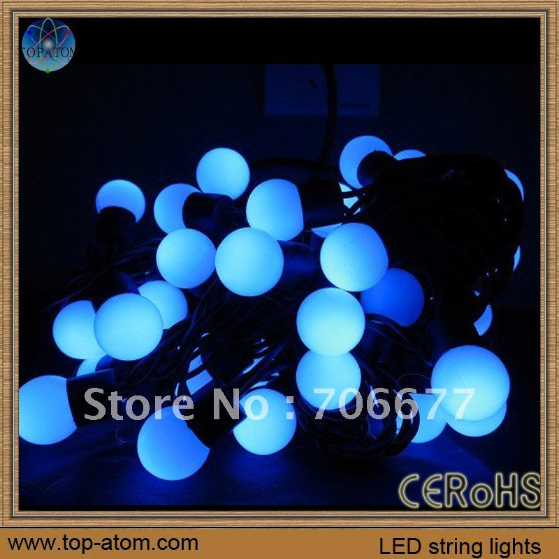Hot-sales blue color 220vac input 5M 50 leds decoration ball leds, black wire, ip65 protector, power 7W, European standard plugs(China (Mainland))