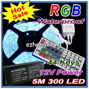 Christmas 5050 RGB Flexible LED Strip Light 60led/m 300LED 5M SMD Waterproof 12V + 44 Key IR Controller + Power  , 5 meters/set