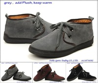 winter keep warm genuine nubuck leather lace-up dress shoes rubber-sole wearproof boots size:us6.5-10