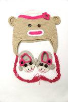 1 Set Retail Crochet Baby Monkey Beanie+ Match Monkey Shoes ,Handmade Baby Girl Monkey Hat and Match Shoes Free Shipping