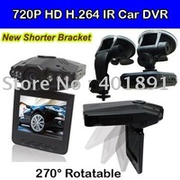 Free Shipping 100% Quality Guaranteed 720P HD Car DVR with 6 IR LEDS and Ultrashort Bracket