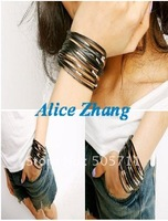 Free shipping~Wholesale Fashion Bracelet~Multilayer, Belt buckle fashion bracelet made from PU leather~ 002