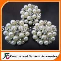25mm crystal and pearls brooch pins high quality