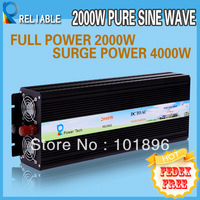Free Shipping, Factory Price  2000W pure sine wave power inverter 12V,24V,48VDC input,120V 240VAC output can run oven/fridge