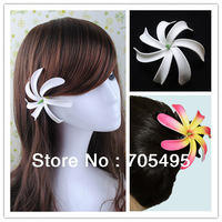 Free Shipping 250pcs/lot 8 Colors Available 4'' Seashore Decoration Hawaiian Tiare Foam Flower Bridal Hair Clip