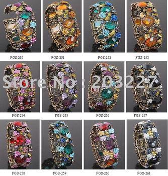 Mixed styles wholesale Free shipping!wholesale vintage style crystal hinged rhinestone alloy bracelet/retro bracelet