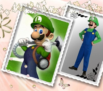 Free Shipping ! Wholesale New ! Super Mario Brothers Luigi Deluxe Halloween Costume - Adult Standard Plus One Size