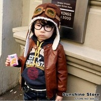 Sunshine store #2C2501  10pcs/lot (2 colors) baby hat glass children hats boys flight caps kids winter hats pilot  Ear cap CPAM