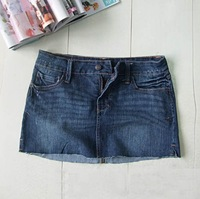 Free shipping fashion Womens jean mini skirts denim skirts washed jeans COLOR Ligth blue & blue & Deep Blue XS S M L