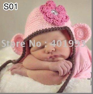30pcs/lot 0-6Month newborn cap crochet baby hat children cotton hat Stripes Beanie with ear ANIMAL HAT crochet cap frog hat