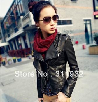 Free shipping New Fashion Women's Plus Size Pu Coat  Korea Stand Callar Leather Jacket Coat leather clothing