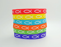 Wholesale100pcs/lot Debossed Jesus Fish Silicone wristband individul packing Mixed Colors Fashion Jewelry freeshipping 202mm