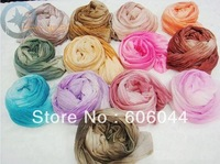 10pcs/lot HOT Sale Knitted Gradient Color Wrinkle Scarf Lady's Shawl in Mixed Items for Wholesale