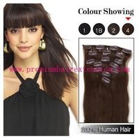 "stock 16"" - 26"" 7 pcs remy human hair clip in extensions clip on hair #04 medium brown 70g/set  free shipping"