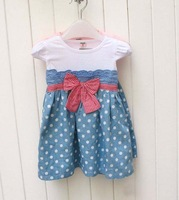 2012 New Korean children's clothing, wholesale princess dress short sleeve dot baby girl dress