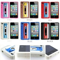 freeshipping 20pcs/lot Cassette Silicone Tape Case Cover for Apple iPhone 4 4S