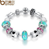 Aliexpress Hot Sell 925 Silver European Charm Bracelet Bangle for Women with Murano Glass Beads Fashion Love DIY Jewelry PA1019