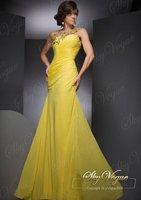 Fast Free Shipping! KR Yellow Chiffon One-Shoulder Strap Evening Dress