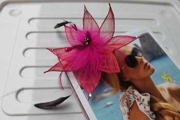 New Arrival Cerise Sinamay Fascinator Brooch Hair Extension #9 color