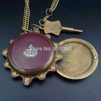 Bronze Tone Necklace Pocket Watch Mechanical Key-Wind H089