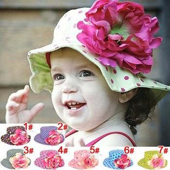 [E-Best] 2014 Spring summer new design baby girls polka dots flower sun hat Children cotton floral beanies kids hats HT102