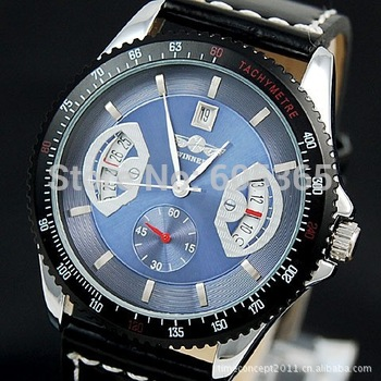 Automatic Blue Dial Mechanical Date Mens Wrist Watch NR A378
