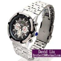 HOT watch men Fine steel strap digital pointer calendar male watch & quartz watch W002 Freeshipping