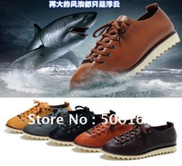 2012 Top men sneaker shoes casual genuine cow leather shoes shark model elasticity spring rubber sole black brown size:39-44
