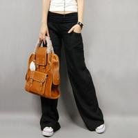 Drop Shipping 2014 New Autumn Korea Women's Flax Long Pants Wide Leg Elastic Waist Loose Pants Linen Straight  Casual Trousers