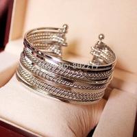 2014 fashion new arrival silver/gold Cuff Bracelet Bangle For Women 6pcs/lot wholesale free shipping